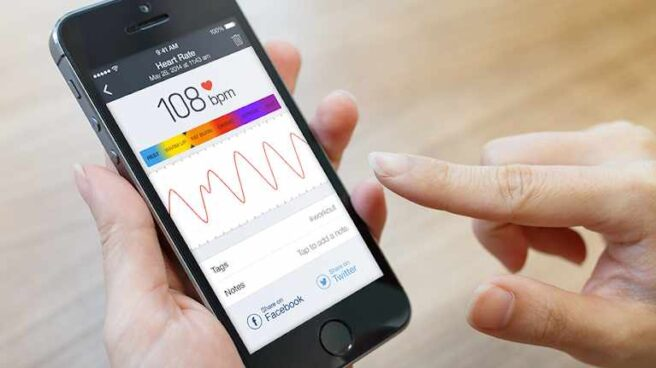 Aplicación Azumio en iOS para medir la frecuencia cardiaca