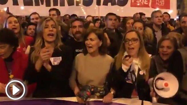 Manifestación 8-M: las ministras y la mujer de Pedro Sánchez.