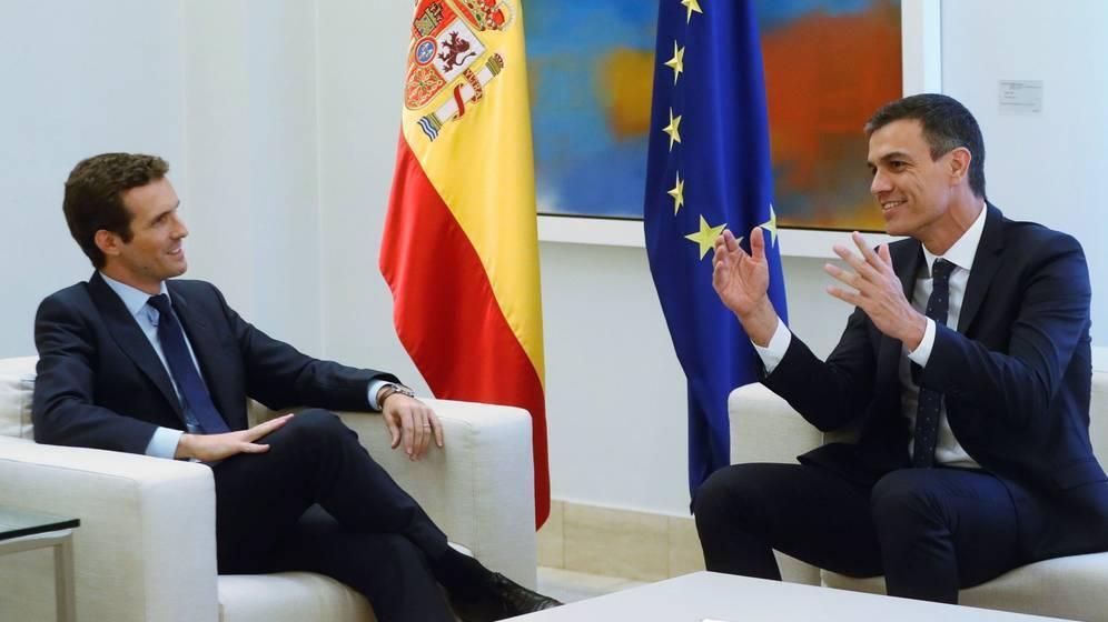 Pedro Sánchez y Pablo Casado en su único encuentro en Moncloa, en agosto pasado