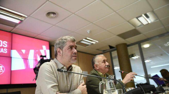 Los secretarios generales de CCOO, Unai Sordo (izquierda), y UGT, Pepe Álvarez (derecha).