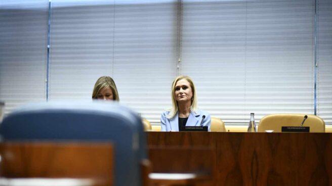 La ex presidenta de la Comunidad de Madrid Cristina Cifuentes, en la Asamblea de Madrid para comparecer en la comisión de investigación de universidades