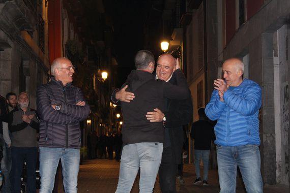 Iñaki Etxarte durante su recibimiento en la localidad de Azpeitia (Guipúzcoa) el pasado sábado.