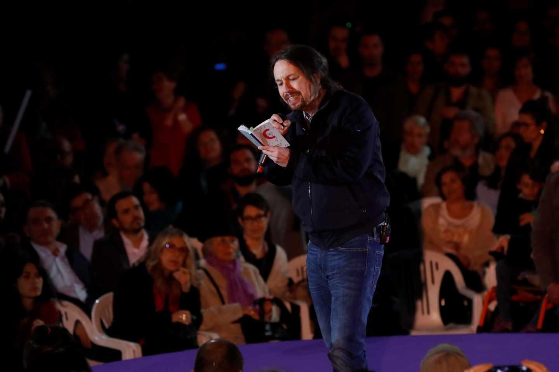 Pablo Iglesias, durante su intervención este sábado en Madrid.