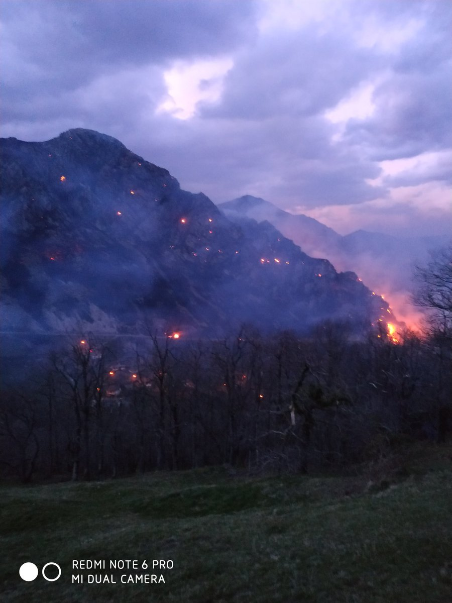 Uno de los incendios actualmente activos en Asturias.