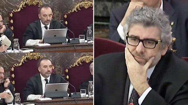 El magistrado Manuel Marchena y el abogado Jordi Pina, este miércoles en el juicio del procés.
