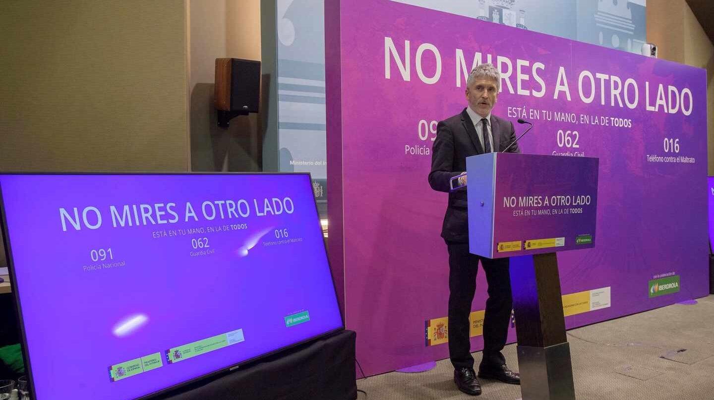 El ministro Grande-Marlaska, en la presentación de una campaña en la sede del Ministerio del Interior.