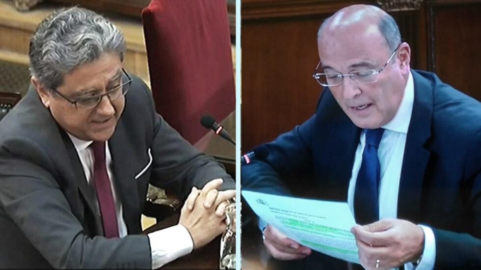 Enric Millo (izquierda) y Diego Pérez de los Cobos, declarando este martes en el juicio del 'procés'.