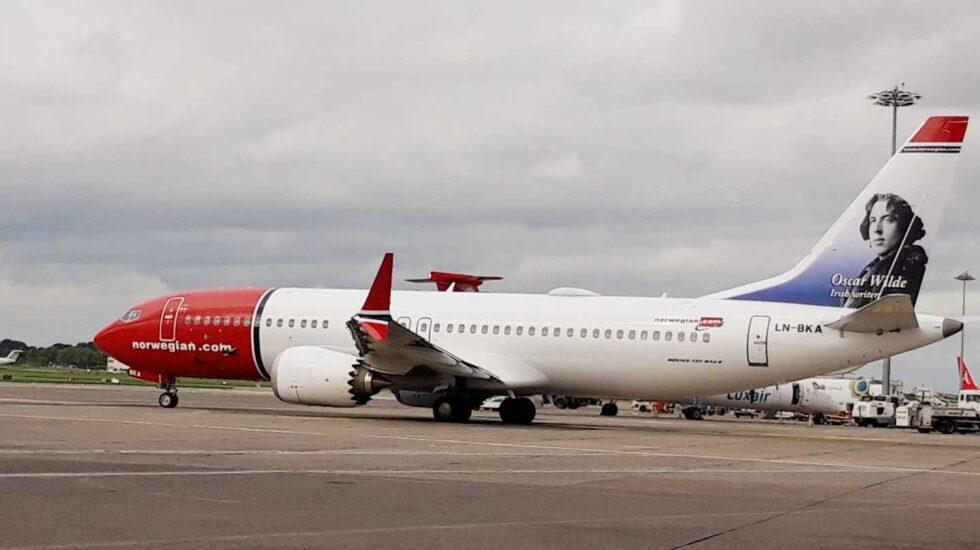 Un avión Boeing 737 MAX-8 de Norwegian Airlines.