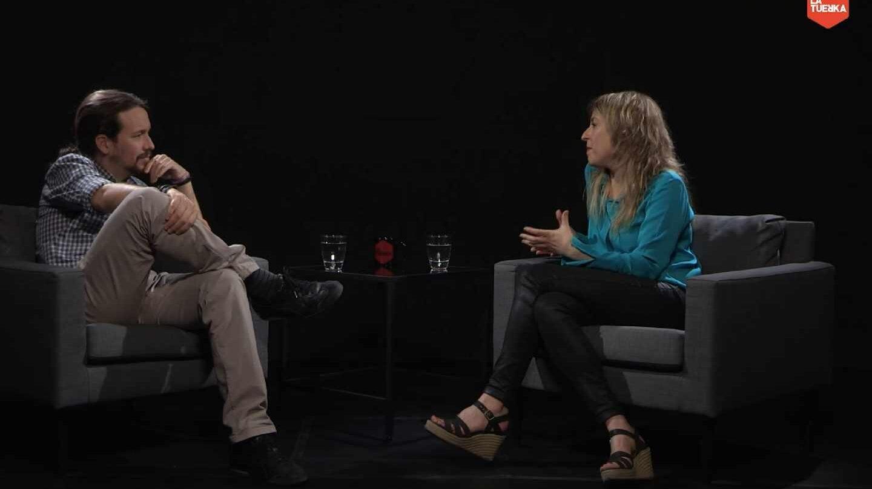 Pablo Iglesias junto a María Eugenia Rodríguez Palop en el programa 'La Tuerka'.