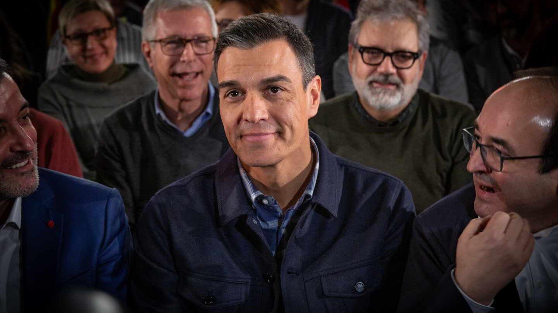 Pedro Sánchez, junto a Miquel Iceta y Jaume Collboni.