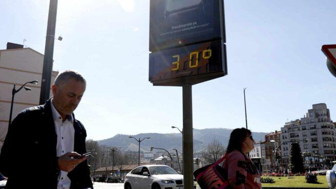 Termómetro en Bilbao el 27 de febrero de 2019.