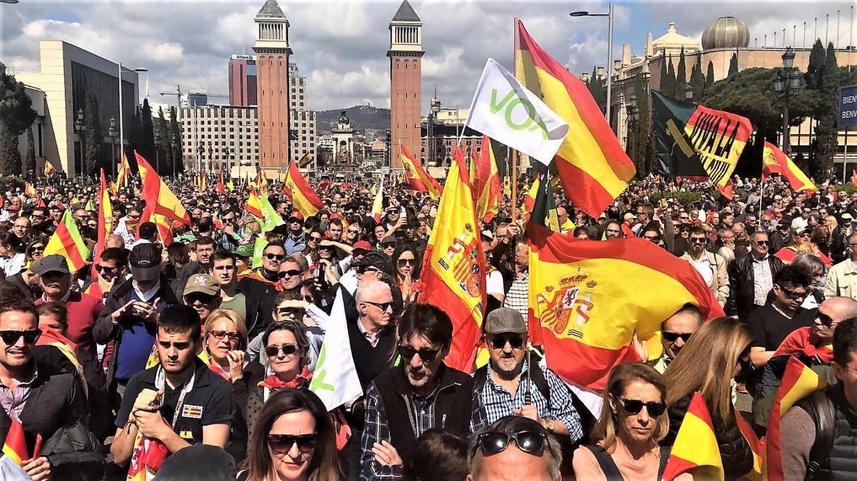 Acto de Vox en la plaza de España de Barcelona.