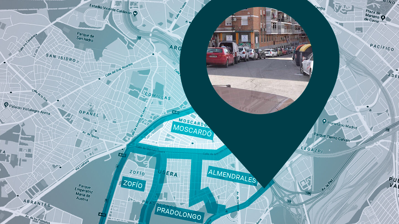 Cuatro barrios de Usera ahogados de coches y sin zona azul o verde aprobarán las ZAV en abril.