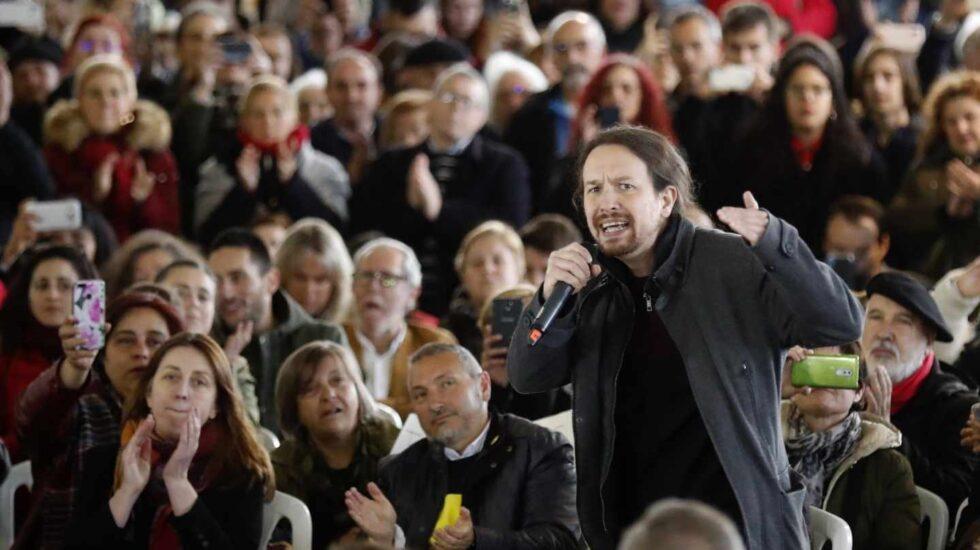 El secretario general de Podemos, Pablo Iglesias, durante un acto en Gijón.