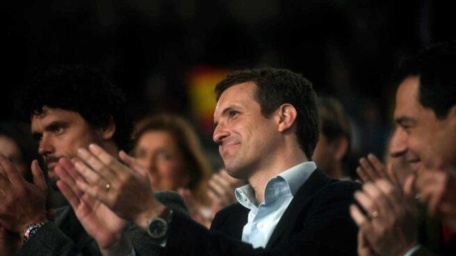l presidente del PP, Pablo Casado, durante un acto con los candidatos del partido al Congreso y Senado por Córdoba