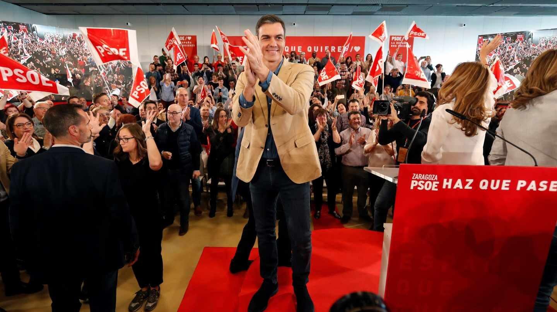 Pedro Sánchez, en un acto en Zaragoza.