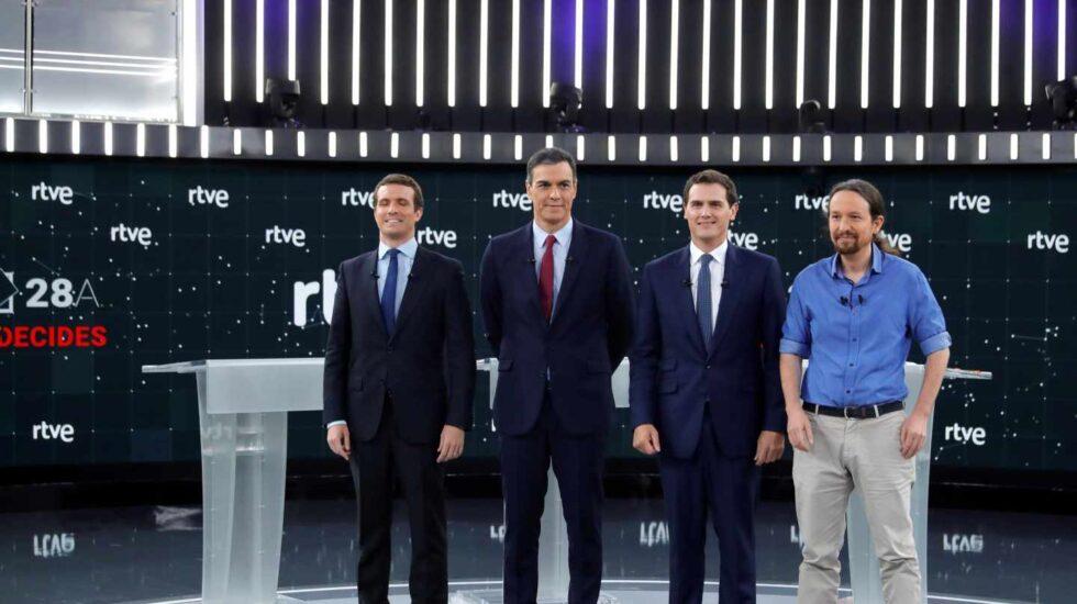 Debate en RTVE: Casado, Sánchez, Rivera e Iglesias.