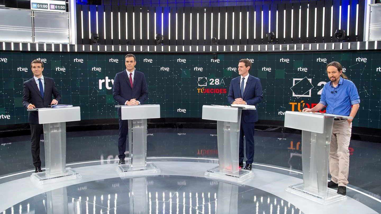 Imagen del debate a cuatro celebrado este lunes en RTVE