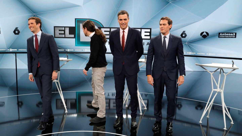 Los candidatos en el debate electoral a cuatro de Atresmedia en abril
