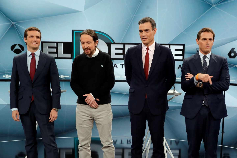Los candidatos a la presidencia por UP, PP, PSOE y Cs a su llegada al plató de Atresmedia