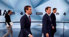 Los candidatos a la presidencia del Gobierno, Pablo Iglesias (UP); Pablo Casado (PP); Albert Rivera (Cs); y Pedro Sánchez (PSOE)
