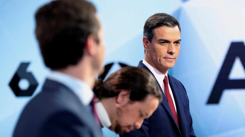 Pablo Casado, Pablo Iglesias y Pedro Sánchez, en el debate de Atresmedia.