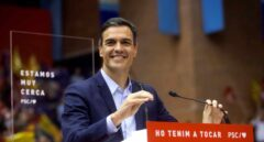 Pedro Sánchez este jueves en un acto de campaña en Barcelona.