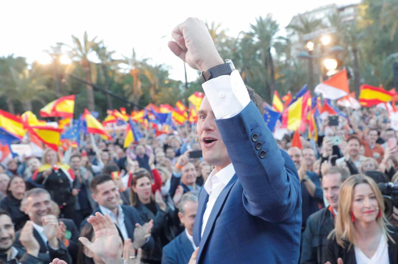 El líder de Ciudadanos, Albert Rivera, en el acto final de campaña.