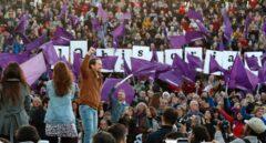 El líder de Unidas Podemos, Pablo Iglesias, en el acto de cierre de campaña.