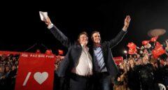 Ximo Puig y Pedro Sánchez, en el mitin de cierre de campaña de Valencia para las autonómicas y generales.