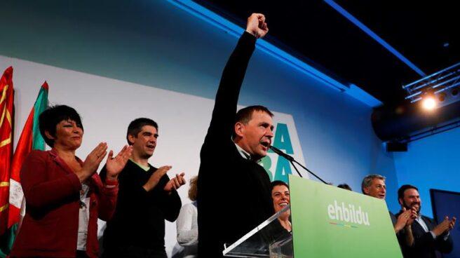 El líder de EH Bildu durante la noche electoral del pasado 28 de abril.