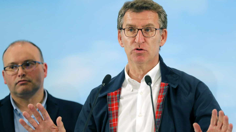 El presidente de la Xunta, Alberto Núñez Feijóo, la noche electoral.