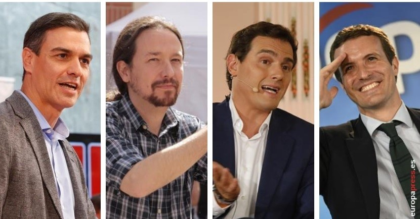 Pedro Sánchez, Pablo Iglesias, Albert Rivera y Pablo Casado.
