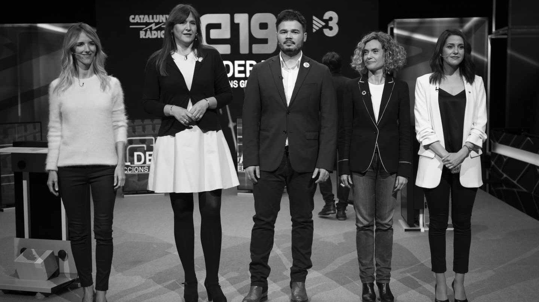 Debate de Jaume Asens (ECP), Gabriel Rufián (ERC), Laura Borràs (JxCat), Meritxell Batet (PSC), Cayetana Álvarez de Toledo (PP) e Inés Arrimadas (Cs) en TV3.