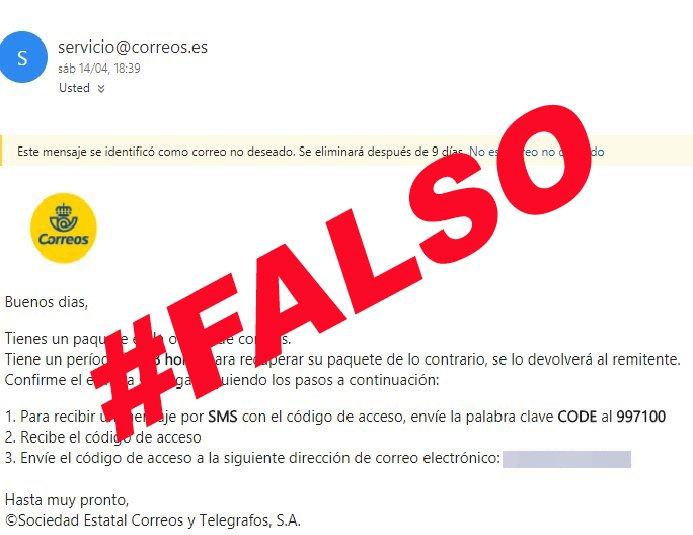 Captura del mensaje de correo electrónico que finge representar a Correos.