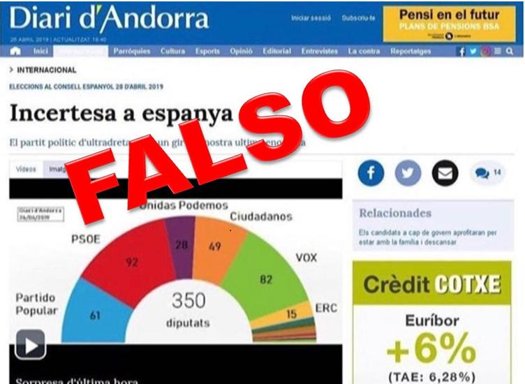 Imagen de la noticia falsa que ha circulado en las redes en vísperas de las elecciones del 28-A.