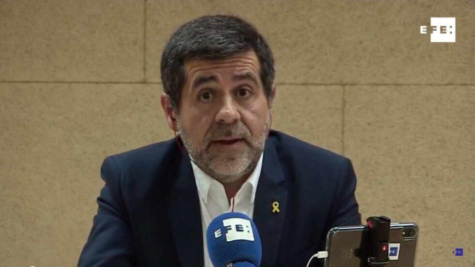 Jordi Sánchez, en la rueda de prensa emitida por Efe desde la cárcel.