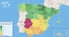 Mapa de la pobreza infantil elaborado por la consultora AIS Group.