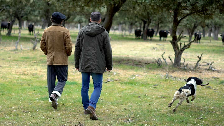 Morante de la Puebla y Santiago Abascal contemplan los toros