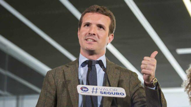 El presidente del PP, Pablo Casado, clausura un acto sobre la prisión permanente revisable en Huelva