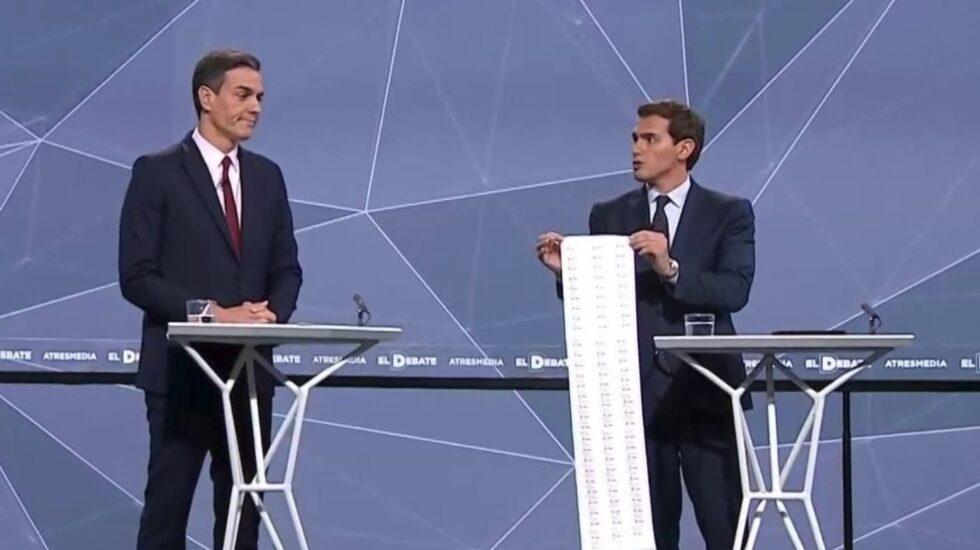 La lista de corrupción del PSOE que ha llevado Albert Rivera al debate