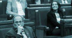 El presidente de la Generalitat de Cataluña, Quim Torra, durante el pleno del Parlament convocado hoy en el que se debatió una moción impulsada por el PSC en la que insta al Govern que él preside a someterse a una cuestión de confianza o dar ya por terminada la legislatura y convocar nuevas elecciones.