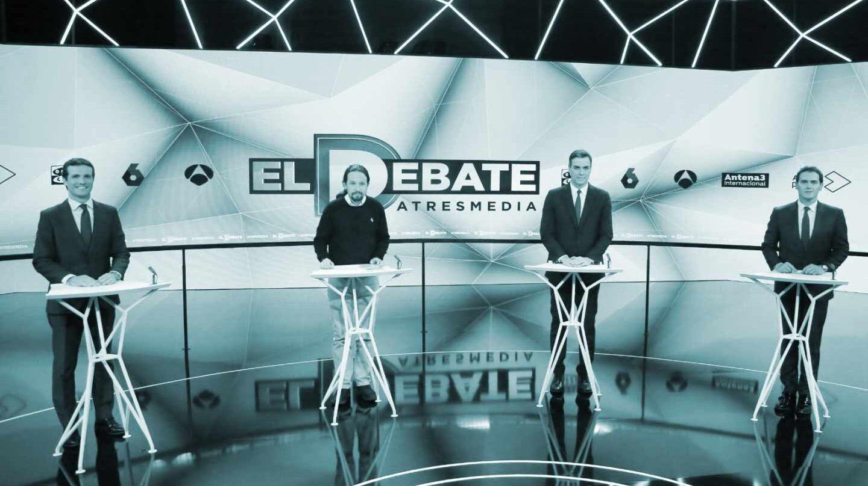 Los candidatos en el debate de Atresmedia: Pablo Casado, Pablo Iglesias, Pedro Sánchez y Albert Rivera