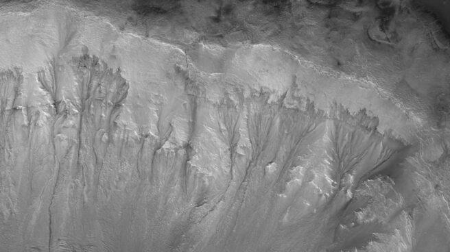 Surcos en el cráter Palikir vinculados a agua brotando del subsuelo de Marte