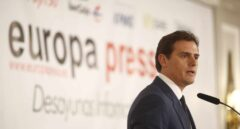 El líder de Ciudadanos, Albert Rivera, en el desayuno informativo de Europa Press.