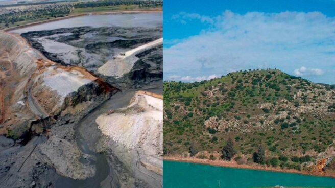 Rotura de la balsa de Aznalcóllar y Río Dulce con aguas turquesas por restos de contaminación