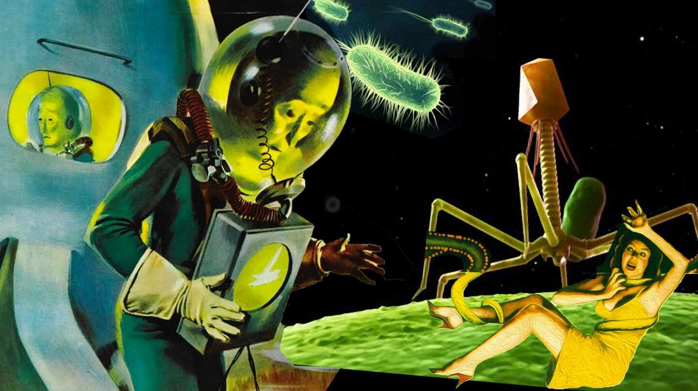 Bacterias del espacio. Retro cartel inspirado en 'El hombre del Planeta X'