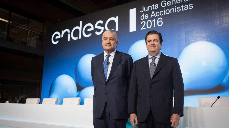 El consejero delegado de Endesa, José Bogas, y el hasta ahora presidente, Borja Prado.