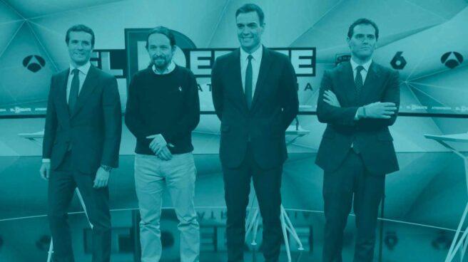 Casado, Iglesias, Sánchez y Rivera, antes del debate de Atresmedia.