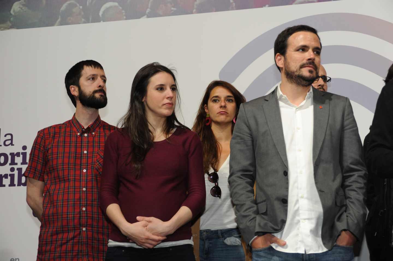 Juanma del Olmo (izquierda) junto a la dirección de Unidas Podemos el 28-A tras los resultados.